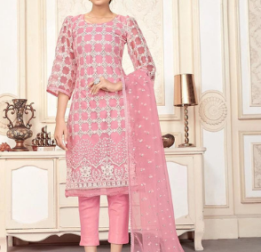 Pink net straight pant suit